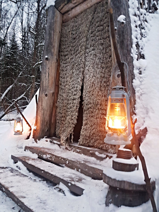 Sleeping tepee in winter